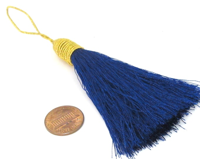 1 Piece  - Long dark blue color silky tassel charm with golden cord twine - tassle fringe craft supply - TS003