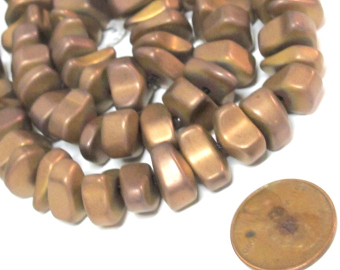 10 beads -  Hematite nugget loose beads matte copper color gemstone Beads - GM151Hs