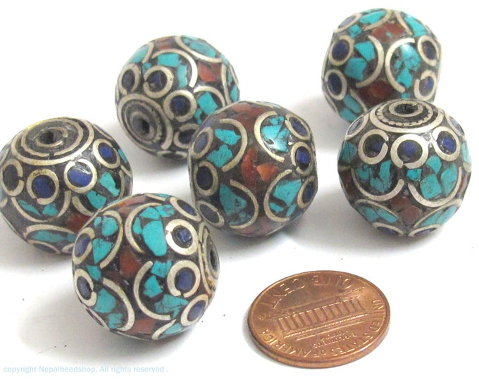 2 Beads - Large  thick 20 mm oval ball shape Tibetan silver color turquoise  lapis coral inlaid beads from Nepal - BD986