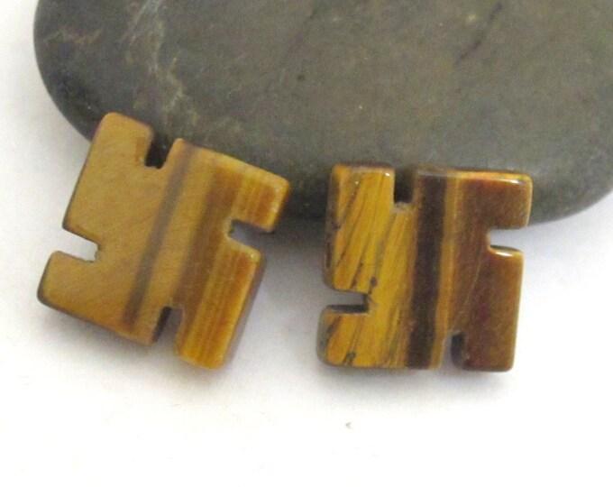 2 pieces - Carved hindu swastika tigers eye gemstone beads - BD308