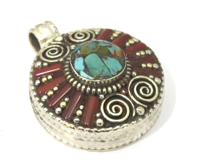 1 Pendant - Ethnic Tibetan silver Ghau prayer box  spiral design pendant with turquoise inlay  - PM426