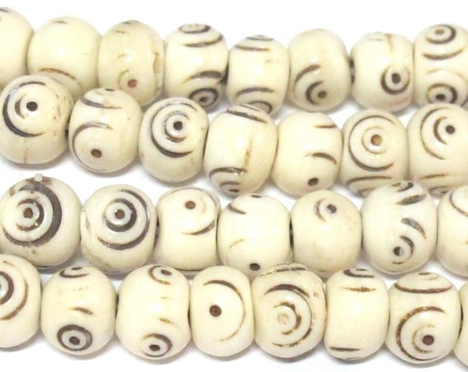 10 Beads - Tibetan beads nepal beads bone beads  Cream color Tibetan eye circels dotted bone beads - HB055B