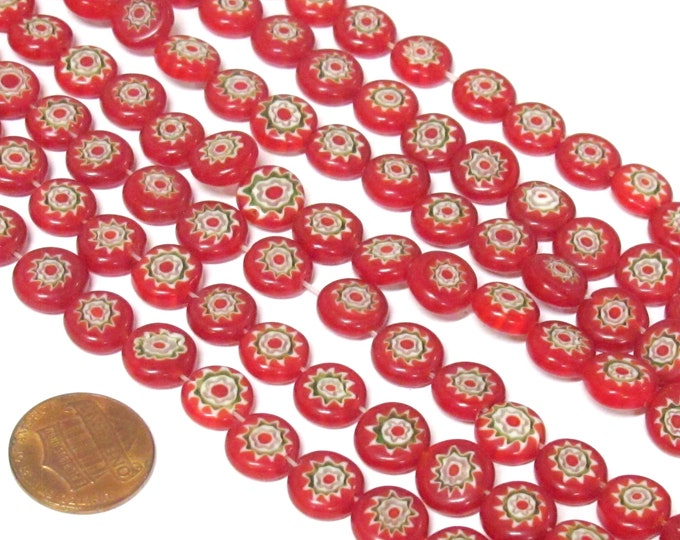 20 BEADS - Red color sun floral chakra design flat disc shape glass beads 10 mm wide - AB001R