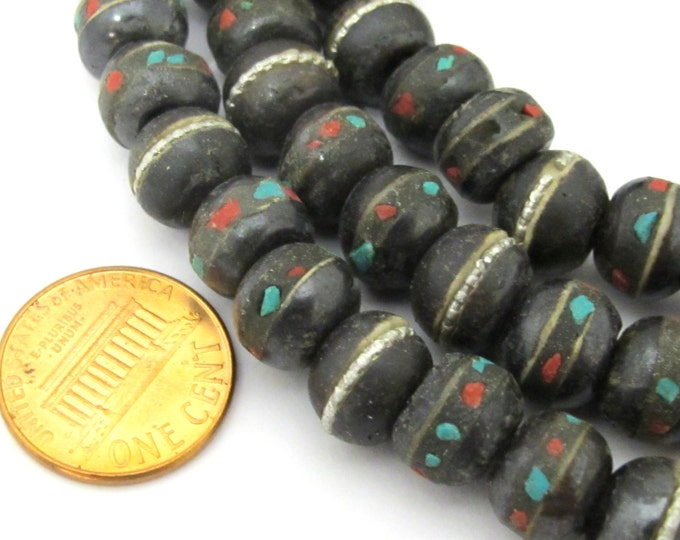 10 beads -  10 - 11 mm size Tibetan black brown color bone mala beads with turquoise coral inlay- ML040C