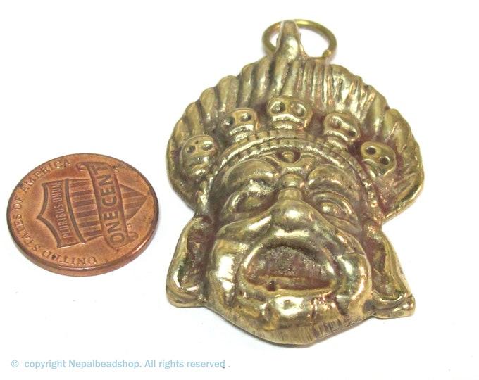 1 pendant - Ethnic Tibetan mahakala protector brass pendant from Nepal  - CP080K