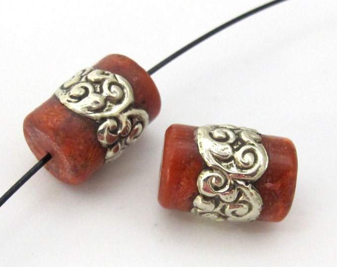 2 Beads - Tibetan coral bead encased in tibetan silver band -  BD913s