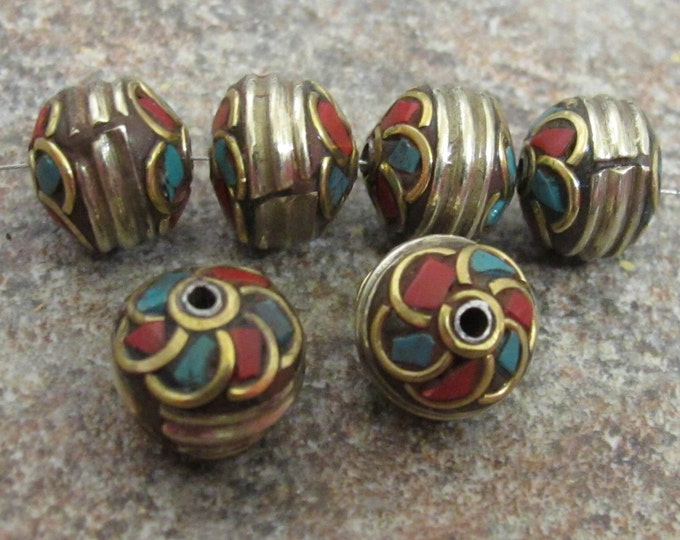 Spiral Whorl design brass bead from Nepal-BD300 - 1 bead