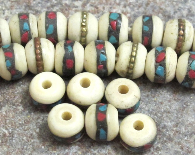 10 Beads- 8 mm Rondelle shape ethnic Tibetan bone beads with turquoise coral inlay - NB052