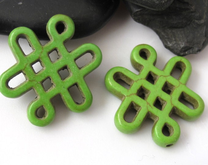2 beads - Tibetan knot symbol magnesite beads - Green color - GM155