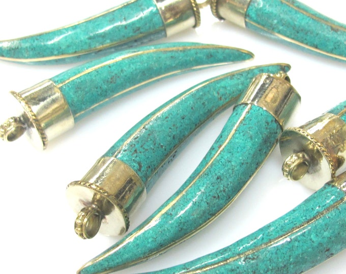 1 Pendant - Long Tibetan horn tusk shape Brass pendant with turquoise inlay - PM517