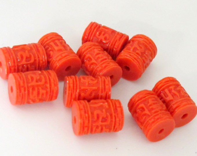 4 BEADS - Tibetan om mantra orange red resin beads 11 mm x 8 mm - BD755