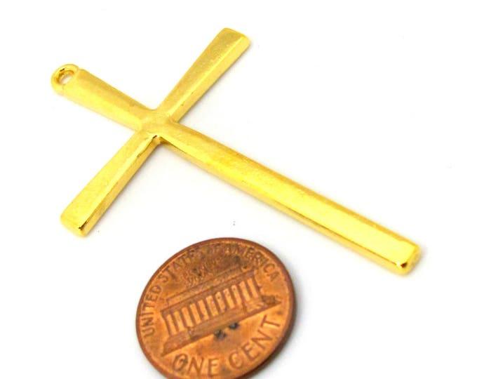 8 pendants - Beautiful Large size Tibetan gold tone plated cross charm pendant - CM164s
