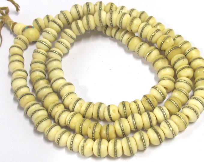 108 mala beads - 10 mm size Tibetan cream white color bone mala beads Guru bead supply with brass inlay - ML031A - Copyright Nepalbeadshop