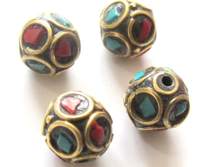 2 beads - Nepal beads brass with turquoise coral inlay - Tibetan bead supplies - BD480