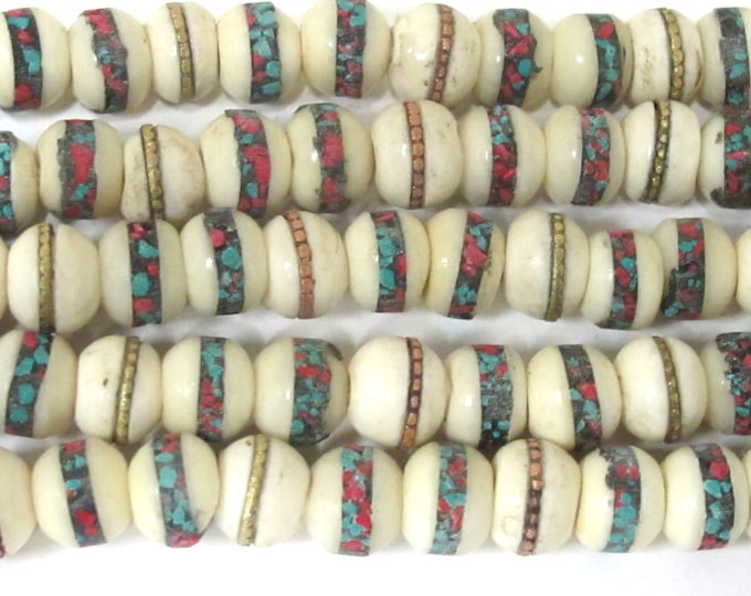 20 Tibetan inlaid bone beads - 10 mm Tibetan ivory white color bone beads with turquoise brass copper turquoise coral inlay Nepal  - ML096B
