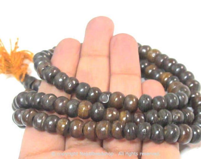 108 Beads - Dark Brown color Tibetan bone mala making beads supply 8 mm size and guru bead  -   ML112A