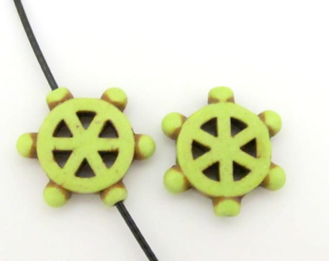 2 Beads - Green howlite Dharma wheel symbol beads set - BD654G