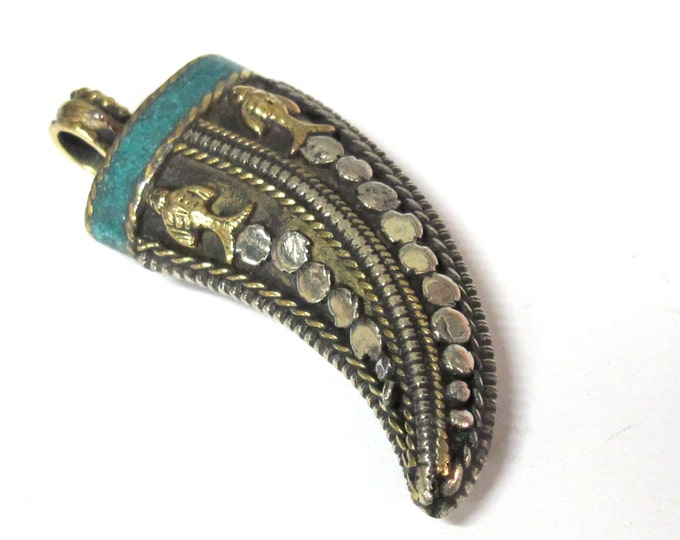 1 Pendant - Long Tibetan horn tusk shape Brass silver dual color fish design pendant with turquoise inlay  - PM535