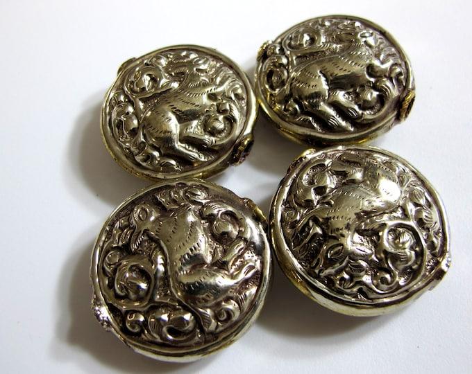 1 Bead - Large size Tibetan antiqued silver color finish repousse rabbit  design focal bead -  BD448