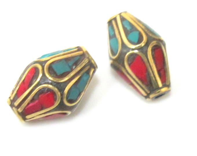 2  beads - Ethnic Nepal Tibetan bicone shape brass bead with turquoise coral floral whorl design  inlay - BD963