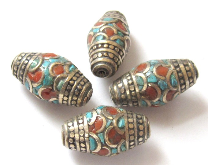 Tibetan beads - Nepal beads - nepalese beads - Gorgeous nepalese brass beads with turquoise coral inlay - 2 beads - BD237