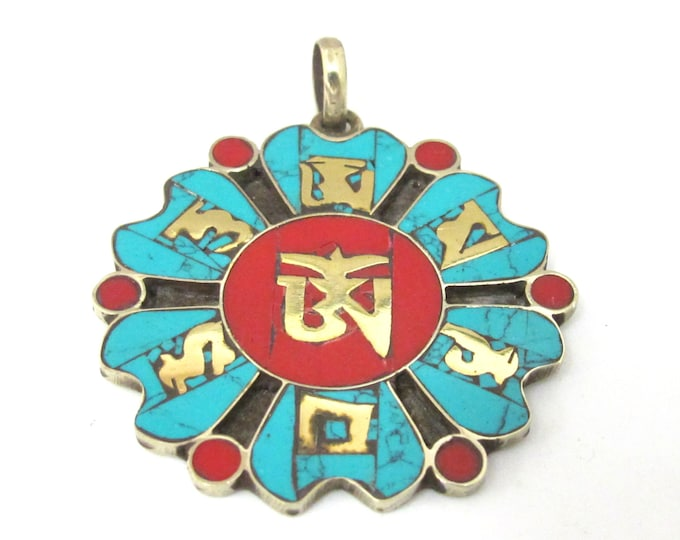 Tibetan Om lotus flower Dharma wheel design brass pendant with turquoise coral lapis inlay - PM496