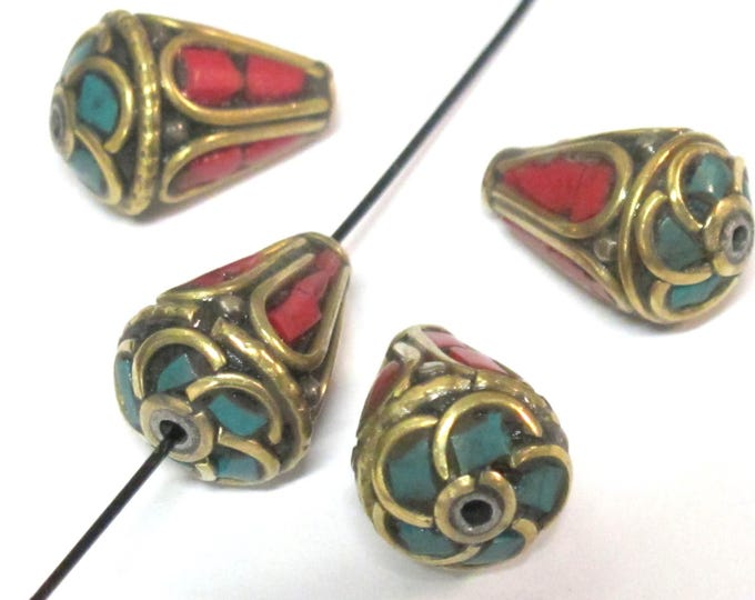 2 Beads - Tibetan beads -nepalese beads Ethnic Nepal Brass bead with turquoise coral inlay cone shape - BD355