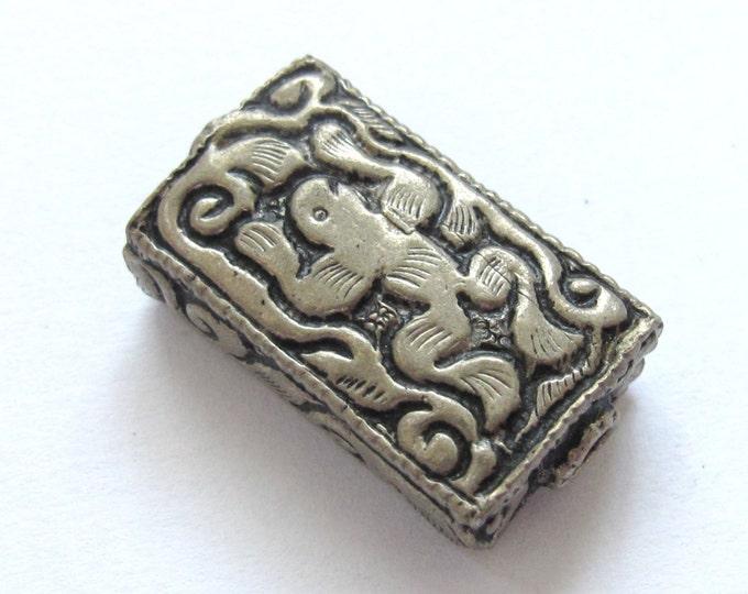 1 BEAD - Frog symbol Rectangle cube shape Tibetan silver repousse bead - BD595C