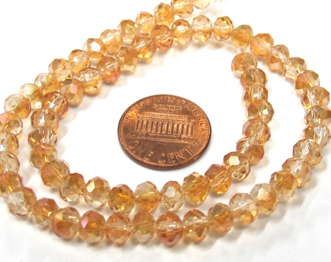 1 Full strand - Faceted rondelle AB peachy orange color crystal glass beads 6 mm size - AB046
