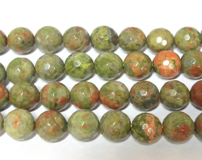 10 Beads - Faceted round 10 mm size Unakite gemstone beads facet cut - GM322M