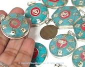 Tibetan pendants - 4 assorted variety bulk lot ethnic Nepal Tibetan Buddha eye Om kalachakra mantra pendants turquoise coral inlay - PM056B