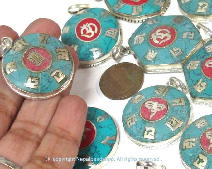 4 assorted variety bulk lot ethnic Nepal Tibetan Buddha eye Om kalachakra mantra pendants with turquoise coral inlay - PM056B