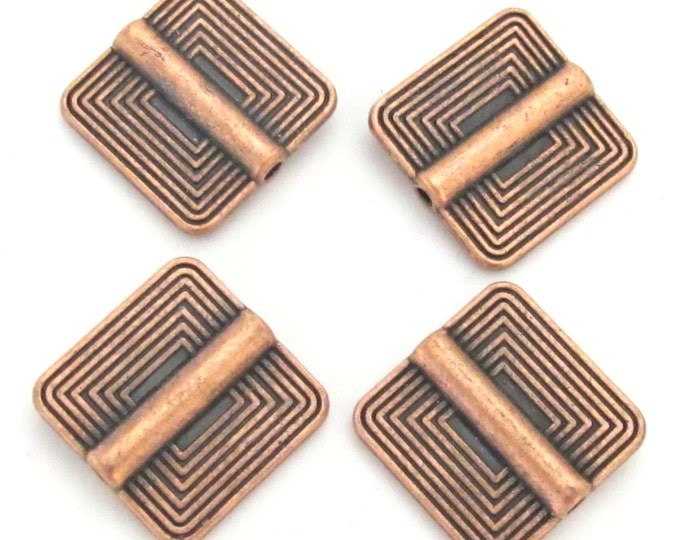4 beads - Ethnic tribal Copper finish metal beads concentric squares design - BD190