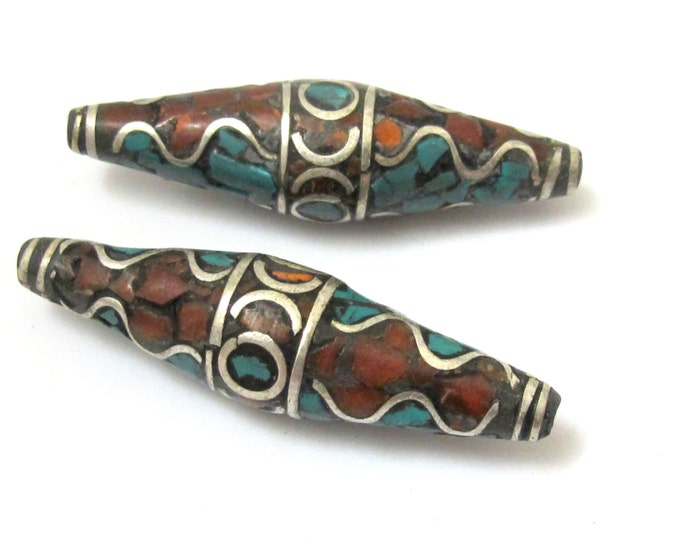 2 BEADS - Long bicone shape nepalese brass beads with wavy design turquoise and coral inlay - BD632