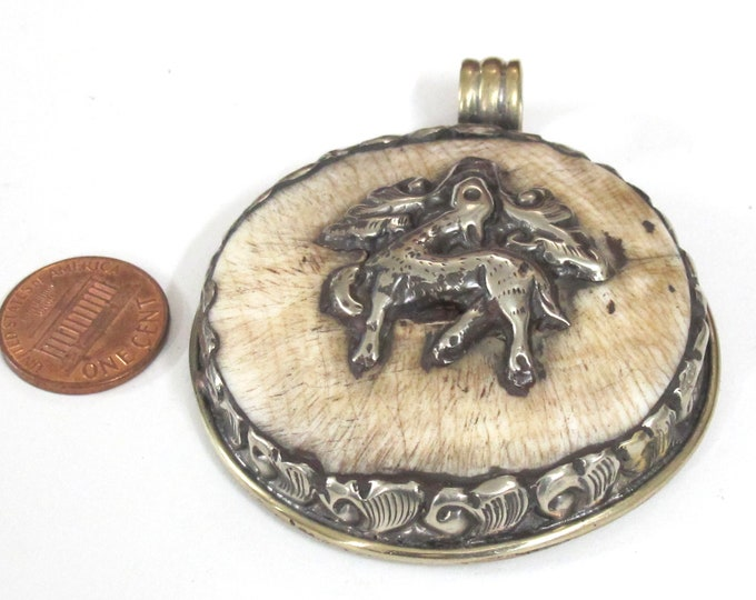 1 pendant - Large Ethnic Tibetan Nepal antiqued finish  naga conch shell  pendant with animal deer design  and reverse side flower- PM547F