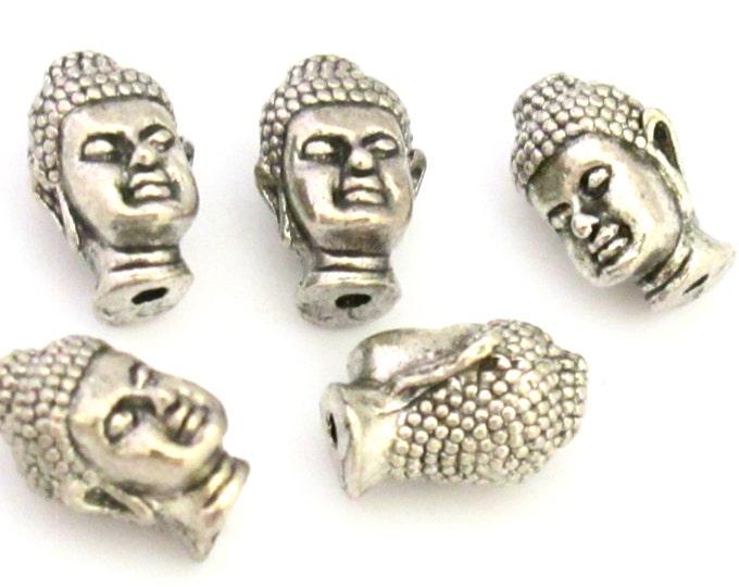 2 BEADS - Antiqued silver color Tibetan Buddha beads - BD708