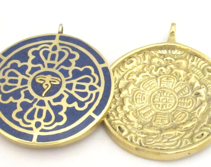 1 Pendant - Reversible solid brass Tibetan calendar pendant with Buddha eye and double dorje design inlaid with lapis inlay- PM312