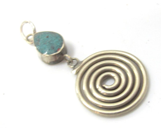 1 charm  - Tibetan silver charm spiral design dangle charm pendant with turquoise inlay from Nepal - PM521A