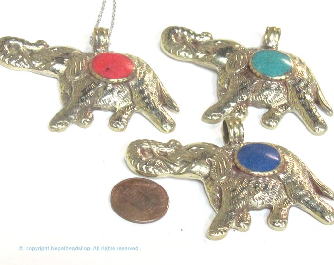 Set of 3 pendants  - Tibetan repousse carved elephant pendants with lapis coral turquoise inlay handcrafted from Nepal - PM254T