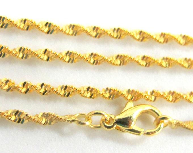 1 chain - Long Gold plated finished chain twisted design for jewelry making 24.5 inches - MG006B