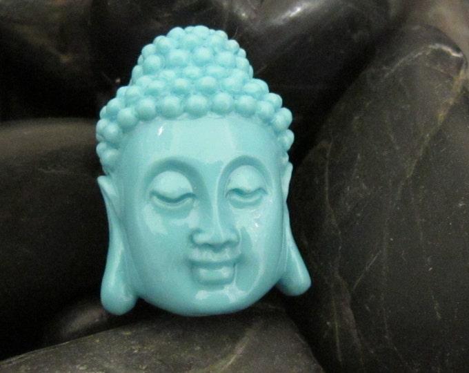 Blue resin Buddha head  pendant - 1 piece - BD289