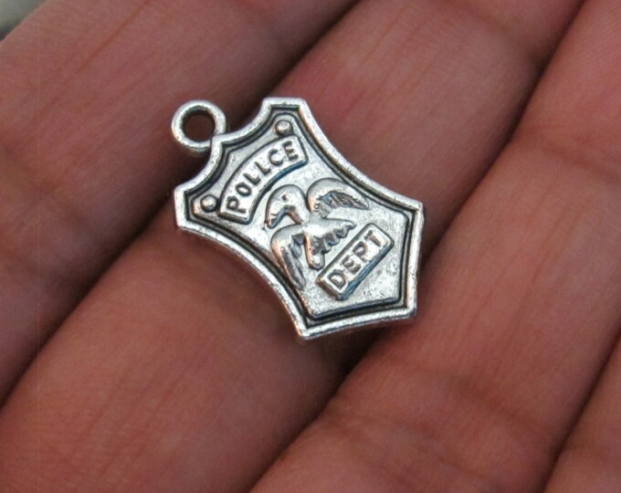 10 - Shield Badge charms antiqued silver color -  CM064