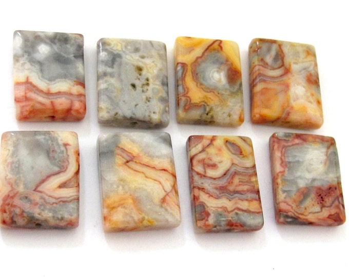 4 BEADS - Natural Crazy lace agate tile beads - GM264
