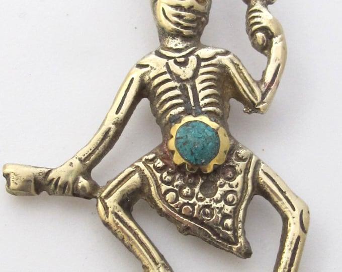 Tibetan silver skeleton pendant with turquoise inlay - PM139