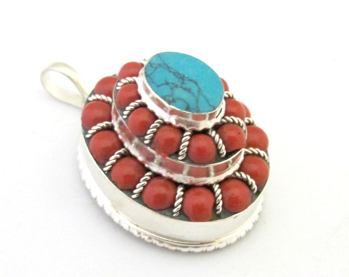 Tibetan oval shape tiered design box pendant with turquoise and red beads  inlay - PM294B