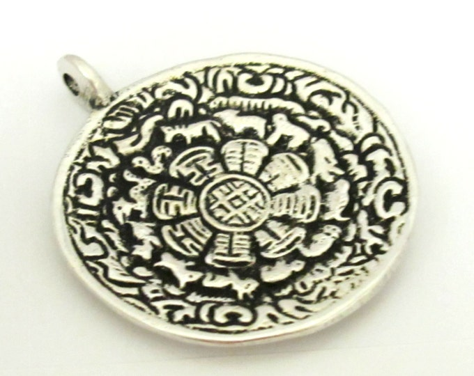 1 Pendant Tibetan Om calendar timeline wheel silver plated over Brass pendant 50 mm height x 44 mm wide - CP092