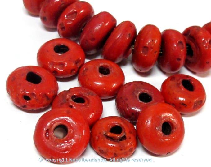10 Beads -Tibetan Nepal Ethnic red Nepalese sherpa glass donut shape beads  - BD167C