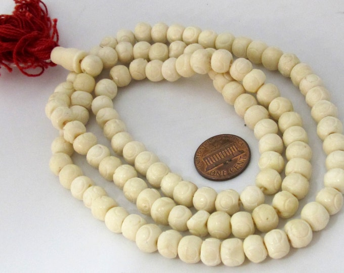 108 mala bone beads supplies  -8 mm Tibetan cream white color bone mala beads  - ML065A