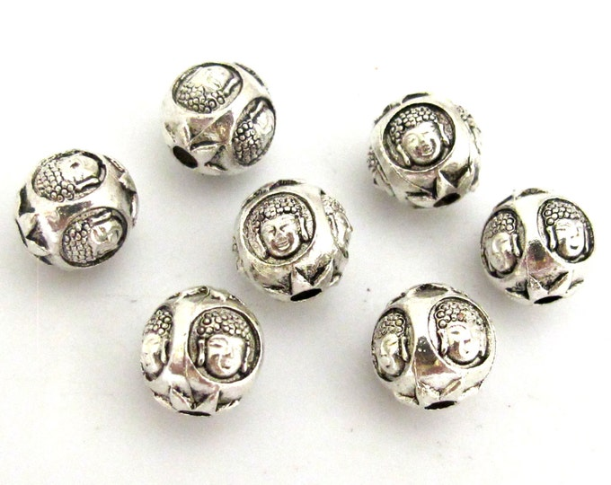 8 BEADS - Round Cube shape silver tone plated Buddha face beads 10 mm - BD747