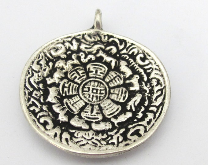 1 pendant -  42 mm Tibetan silver plated Om with calendar timeline wheel pendant and reverse side double dorje - CP111
